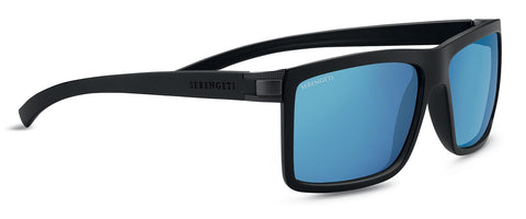 Serengeti - Brera Large Sanded Black Sunglasses / Mineral Polarized 555nm Blue Lenses
