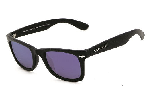 Peppers - Seaside Rubberized Matte Black Sunglasses, Ice Blue Mirror Lenses