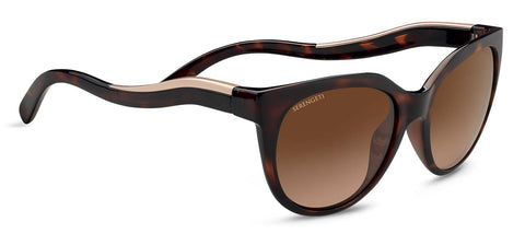 Serengeti - Lia Shiny Dark Tortoise Sunglasses / Mineral Polarized Drivers Gradient Lenses