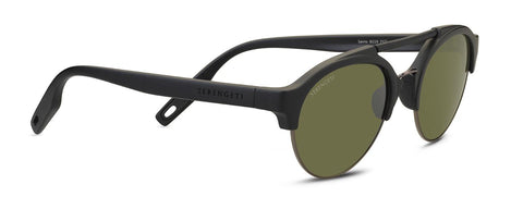 Serengeti - Savio Matte Black Sunglasses / Mineral Polarized 555nm Green Lenses