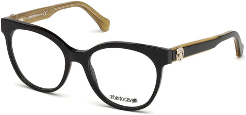 Roberto Cavalli - RC5049 Firenzuola Black + Gold Eyeglasses / Demo Lenses