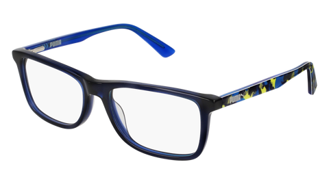 Puma - PJ0020O Junior Blue + Multi Color Eyeglasses / Demo Lenses