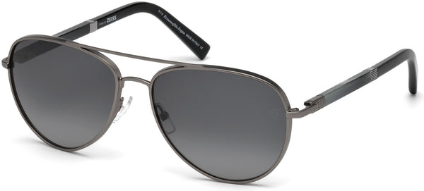 Ermenegildo Zegna - EZ0066 Shiny Gunmetal Sunglasses / Smoke Polarized Lenses