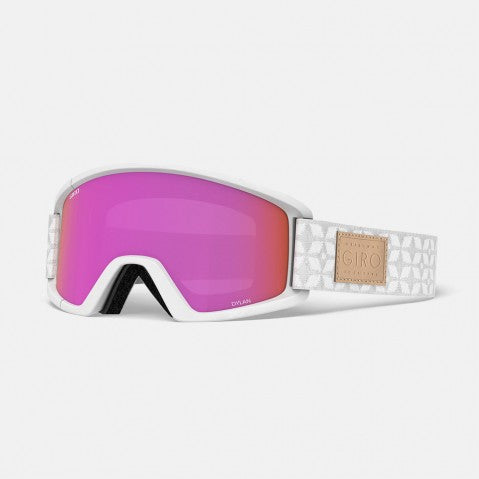 Giro - Dylan Asian Fit White Quilted Snow Goggles / Amber Pink + Yellow Lenses