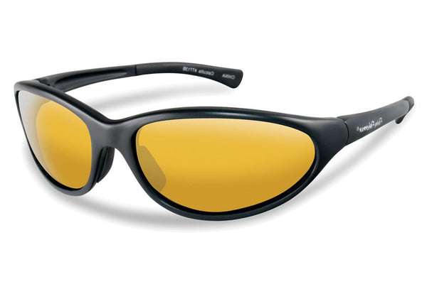 Flying Fisherman - Calcutta 7713 Black Sunglasses, Yellow-Amber Lenses