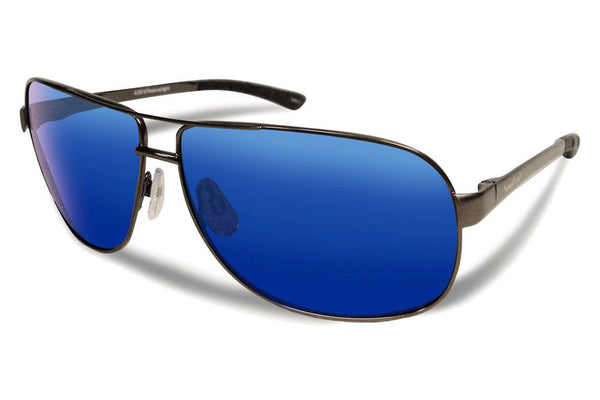 Flying Fisherman - Highlander 7816 Gunmetal Sunglasses, Smoke-Blue Mirror Lenses