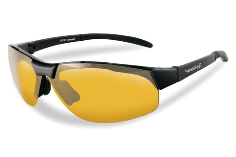 Flying Fisherman - Maverick 7812 Black Sunglasses, Yellow-Amber Lenses