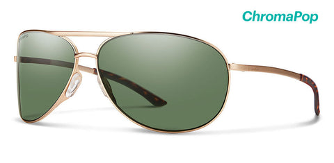 Smith - Serpico 2.0 Matte Gold Sunglasses / ChromaPop Polarized Gray Green Lenses