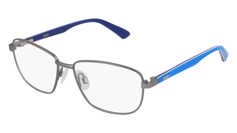 Puma - PJ0013O Junior Ruthenium + Light Blue Eyeglasses / Demo Lenses