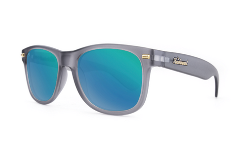 Knockaround - Fort Knocks Frosted Grey Sunglasses, Green Moonshine Lenses