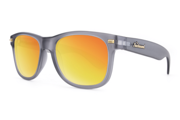Knockaround - Fort Knocks Frosted Grey Sunglasses, Red Sunset Lenses