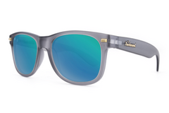 Knockaround - Fort Knocks Frosted Grey Sunglasses, Polarized Green Moonshine Lenses