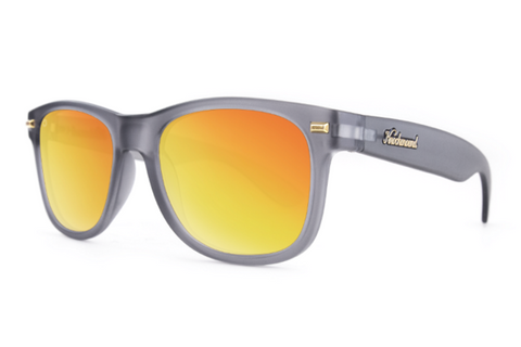 Knockaround - Fort Knocks Frosted Grey Sunglasses, Polarized Red Sunset Lenses