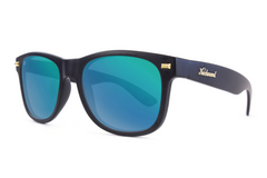 Knockaround - Fort Knocks Matte Black Sunglasses, Polarized Green Moonshine Lenses