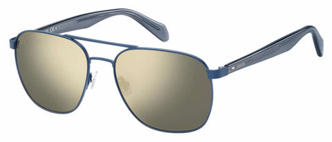 Fossil - Fos 2081 S Semi Matte Navy Sunglasses / Gray Ivory Mirror Lenses