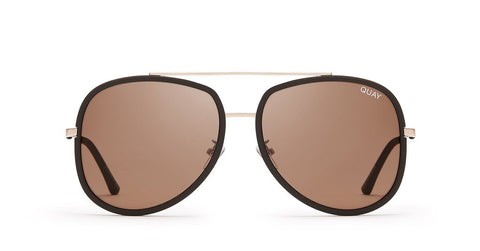 Quay Needing Fame Gold Sunglasses / Chocolate Brown Lenses