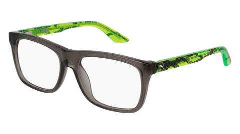Puma - PJ0008O Junior Grey + Green Eyeglasses / Demo Lenses