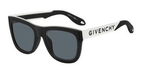 Givenchy - Gv 7016 N S Black White Sunglasses / Gray Blue Lenses