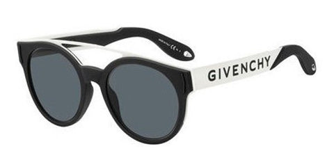 Givenchy - Gv 7017 N S Black White Sunglasses / Gray Blue Lenses