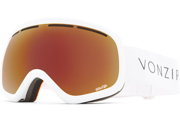 VonZipper - Skylab White Satin Snow Goggles / Wildlife Black Fire Chrome Lenses