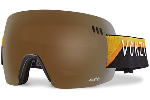 VonZipper - Alt-XM Black Yellow Snow Goggles / Wild Bronze Flash Chrome + Wildlife Yellow Lenses