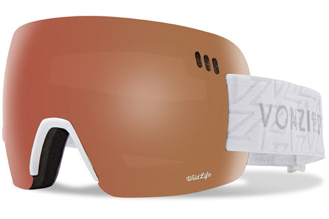 VonZipper - Alt-XM White Gloss Snow Goggles / Wild Black Fire + Wildlife Yellow Lenses