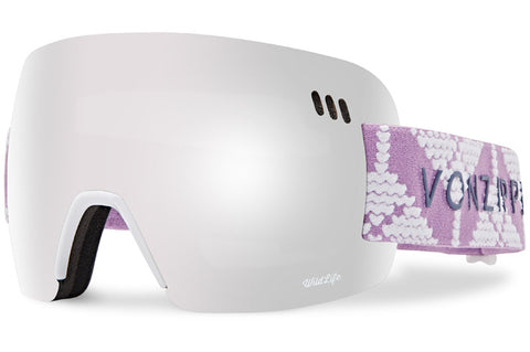 VonZipper - Alt-XM Cable Knit White Satin Snow Goggles / Wild Silver Chrome + Wildlife Yellow Lenses