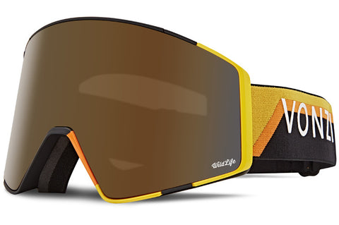 VonZipper - Capsule Black Yellow Snow Goggles / Wild Bronze Flash Chrome + Wildlife Yellow Lenses