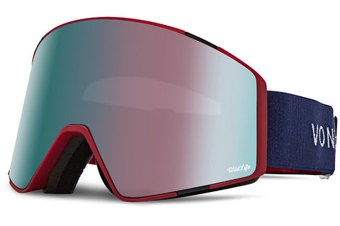 VonZipper - Capsule Color Block Brick Satin Snow Goggles / Wild Midnight Rose Chrome + Wildlife Yellow Lenses