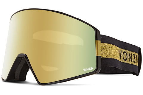 VonZipper - Capsule Halldor Signature Black Gloss Snow Goggles / Wild Gold Chrome + Wildlife Yellow Lenses