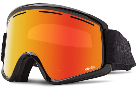 VonZipper - Cleaver Black Satin Snow Goggles / Wild Fire Chrome + Wildlife Yellow Lenses