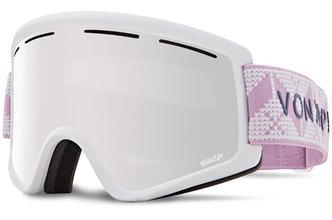 VonZipper - Cleaver Cable Knit White Satin Snow Goggles / Wild Silver Chrome + Wildlife Yellow Lenses