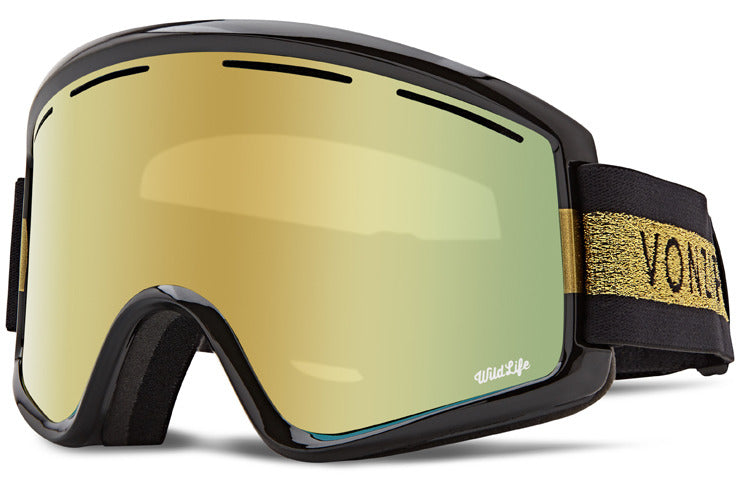 VonZipper - Cleaver Halldor Signature Black Gloss Snow Goggles / Wild Gold Chrome + Wildlife Yellow Lenses