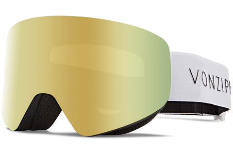 VonZipper - Encore Black Satin White Snow Goggles / Wild Gold Chrome Lenses