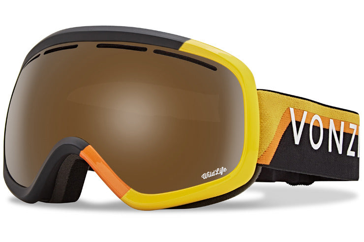 VonZipper - Skylab VZ 20th Black & Yellow Snow Goggles / Wild Bronze Flash Chrome Lenses