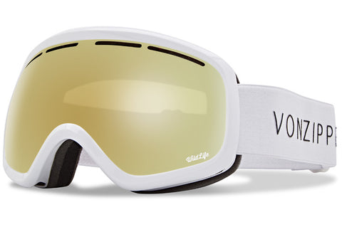 VonZipper - Skylab White Gloss Snow Goggles / Wild Gold Chrome Lenses