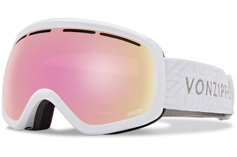 VonZipper - Skylab White Gloss Snow Goggles / Wild Pink Chrome Lenses