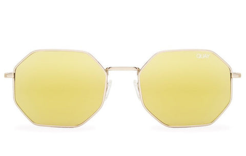 Quay On A Dime Gold Sunglasses, Gold Lenses