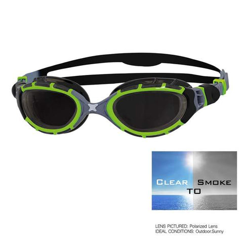 Zoggs - Predator Flex 2.0 Reactor Black Green Swim Goggles / Smoke Lenses