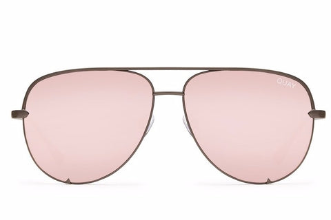 Quay x Desi Perkins High Key Gunmetal / Rose Sunglasses