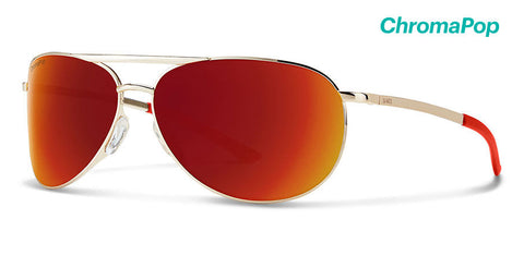 Smith - Serpico Slim 2 Gold Sunglasses / ChromaPop Sun Red Mirror Lenses