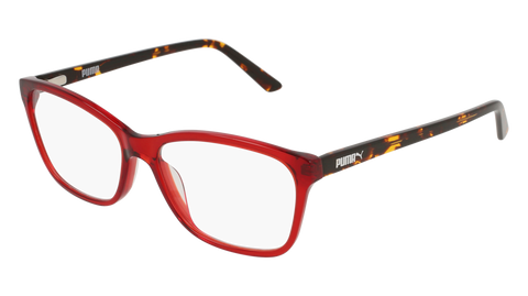Puma - PU0183O Red + Havana Eyeglasses / Demo Lenses