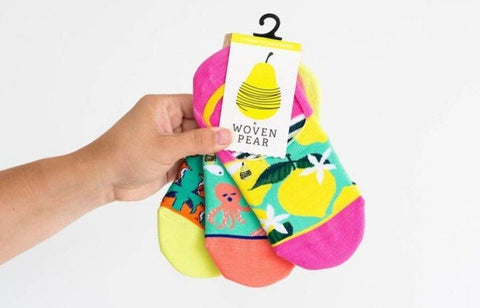 Woven Pear - Happy Vibes Variety Pack No Show Socks