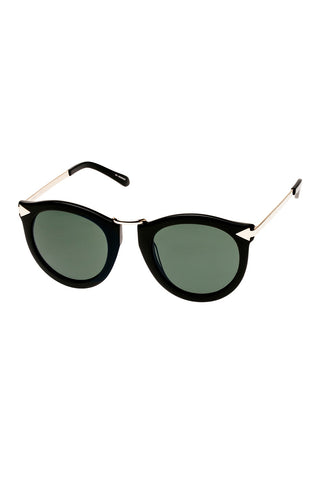 Karen Walker - Harvest Regular Fit Black Gold Sunglasses / Gradient Green Lenses