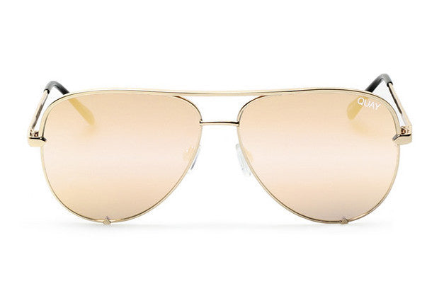 Quay x Desi Perkins High Key Gold / Pink Sunglasses