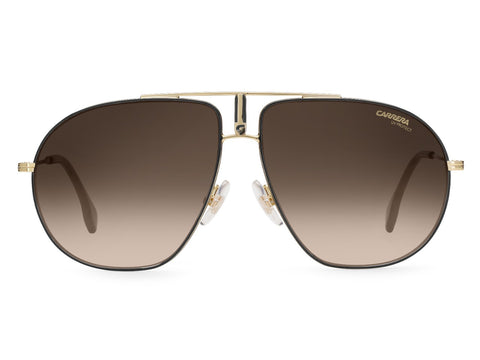 Carrera - Bound 60mm Black Gold Sunglasses / Brown Gradient Lenses