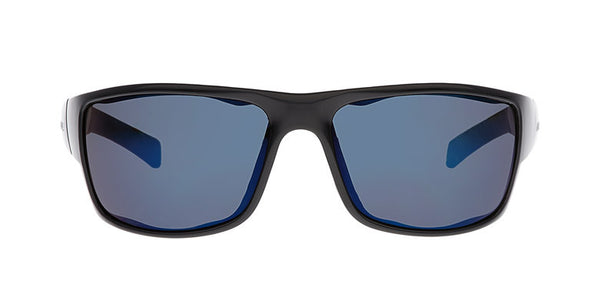 Native - Cable Gloss Black Sunglasses, Blue Reflex Lenses