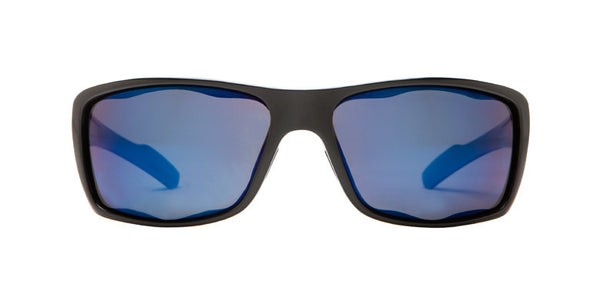 Native - Wazee Shiny Black Sunglasses, Blue Reflex Lenses