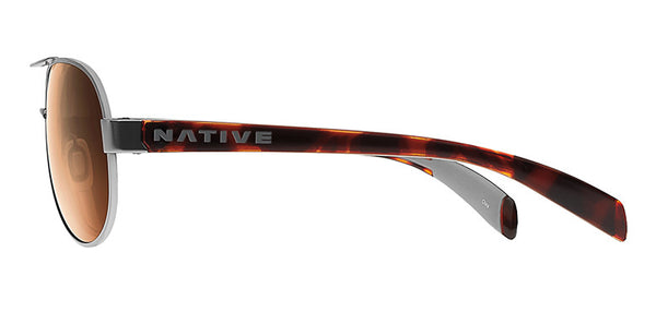 Native - Haskill Chrome/Maple Tort Sunglasses, Brown Lenses