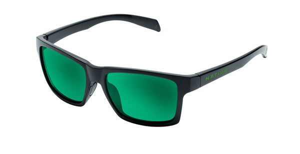 Native - Flatirons Matte Black Sunglasses, Green Reflex Lenses